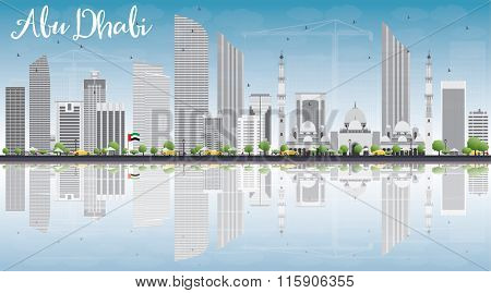 Abu Dhabi City Skyline with Gray Buildings, Blue Sky and Reflections. Business Travel and Tourism Conceptwith Modern Buildings.Image for Presentation, Banner, Placard and Web Site.