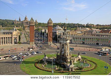 Barcelona - December 13, 2011:  Venetian Towers On Placa D'espanya In Barcelona