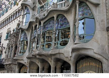 Barcelona, Catalonia, Spain - December 13, 2011:  Outdoor View Of Gaudi's House Casa Batllo In Barce