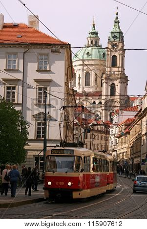 Prague, Czech Republic - April 18, 2010:  St. Nicholas Church In Mala Strana Or Lesser Side, Beautif