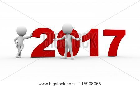 3D People New Year 2017 Welcome
