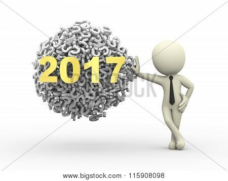 3D Businessman With 2017 Question Mark Sphere Ball