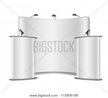 White Podium Tribune Rostrum Stands With Microphones On A White Background