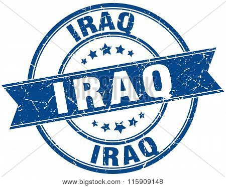 Iraq blue round grunge vintage ribbon stamp