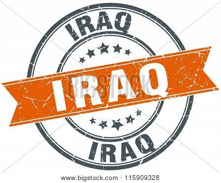 Iraq orange round grunge vintage ribbon stamp