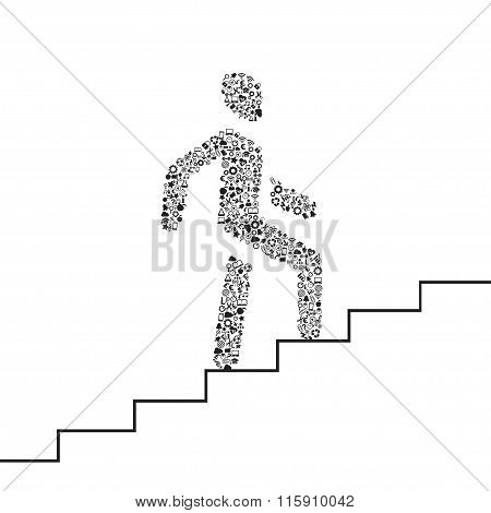 vector of man on stairs icon,man walk on stair vector
