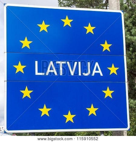 Sign Of Latvia Located On The Border Between Latvia And Lithuania.