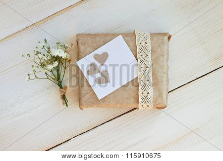 Handcrafted gift box with flower