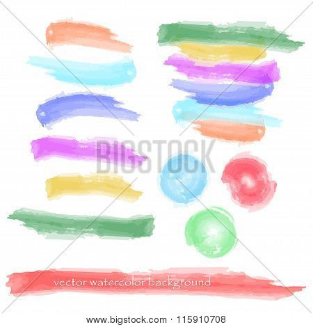 dabs of different coloured paint isolated on a white background