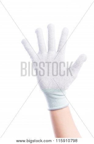 Show Hands Five Finger With Cotton Gloves