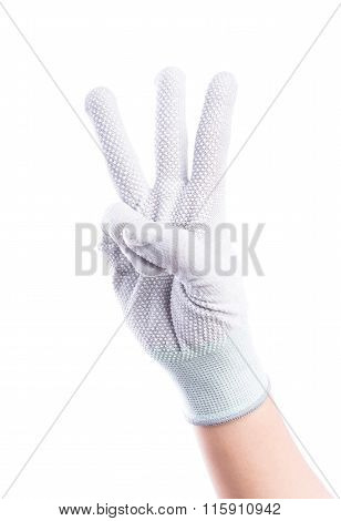 Show Hands Three Finger With Cotton Gloves