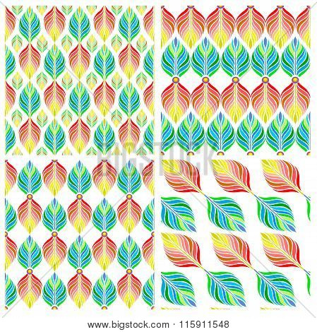 Seamless patterns with colorful leaves. Vector, EPS10.