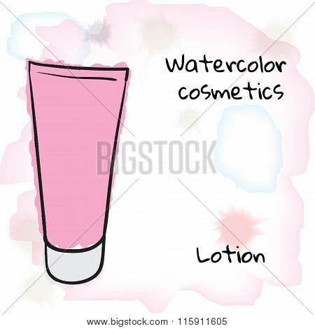 Watercolor Cosmetics. Watercolor Lotion Bottle On A Blurred Background