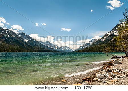 Waterton Lake And Mountains