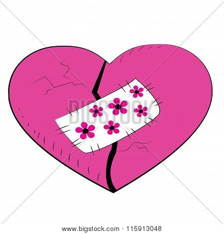 Pink Broken Heart With A Patch.