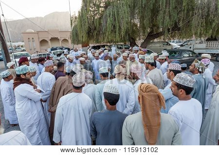 Omani Men At The Market In Nakhl, Oman