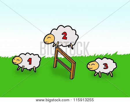 sheep jumping over fence
