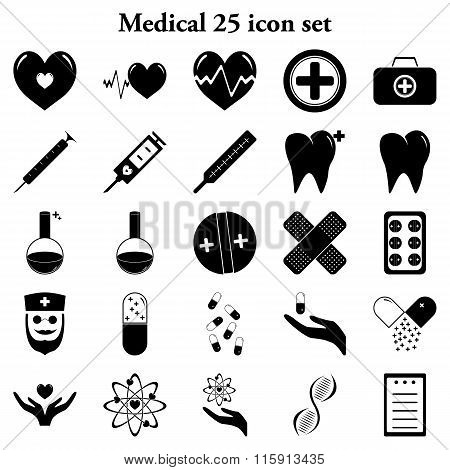 Medical 25 Simple Icons Set