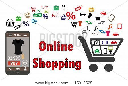 Shopping With Smartphone. . Electronic Commerce. Vector