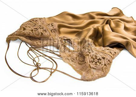 Luxury satin silk gold negligee for Valentines day