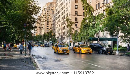 Yellow Cabs In Manhattan In A Rainy Day.