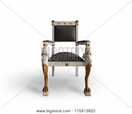 Old throne chair on white background