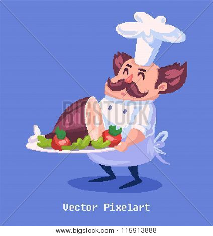 Pixel funny cook character. Isolated on violet background. Vector illustration.