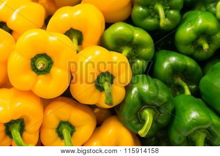 Yellow And Green Bell Peppers (capsicum) Background