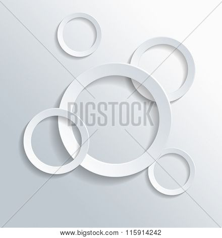 Conceptual Hollow Circles in Assorted Sizes Isolated on White Background.
