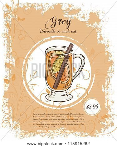 Vector Hand Drawn Illustration Of Drinks Menu Pages With Cup Of Grog