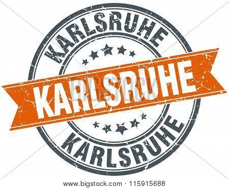 Karlsruhe orange round grunge vintage ribbon stamp