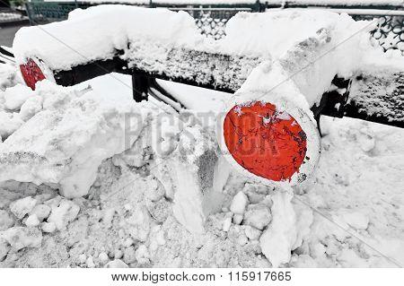 Railway Buffers After Heavy Snowfall