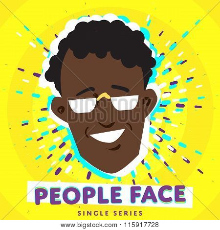 People face. Vector face icon. Face avatar. Fashion people. Flat design. People portrait. Face. Boy face. Male face. Adult face. Close up face. Human head. Human face on bright colorful background.