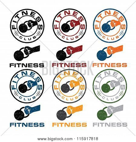 Kettlebell In The Hand Fitness Emblems