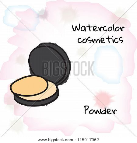 Watercolor Cosmetics. Watercolor Powder On A Blurred Background