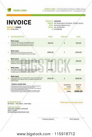 Vector Invoice Form Template Design. Vector Illustration. Green And Orange Color Theme