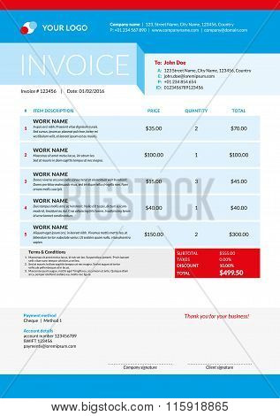 Vector Invoice Form Template Design. Vector Illustration. Red And Blue Color Theme