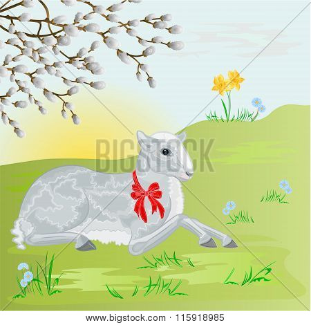 Easter Lamb On The Meadow Background Vector