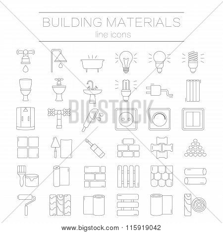 Set of line icons for DIY, construction, building materials.