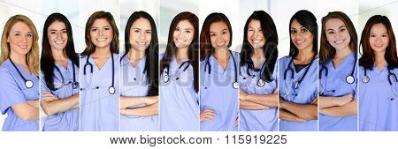 Nurses who are working their shift in a hospital