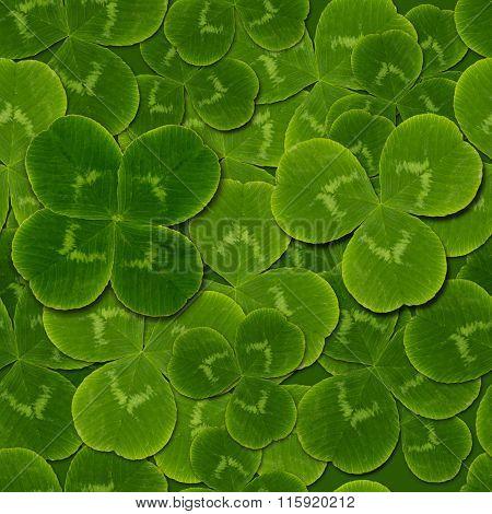 Leaves Clover Shamrock Quatrefoil Seamless Pattern