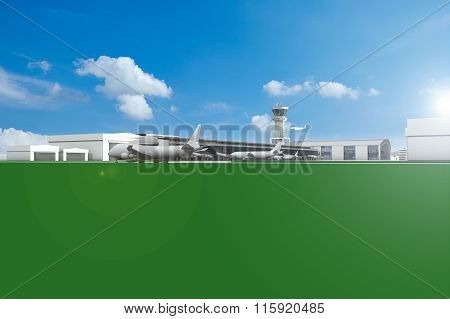 Airfield With Planes And Blue Sky