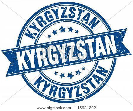 Kyrgyzstan blue round grunge vintage ribbon stamp