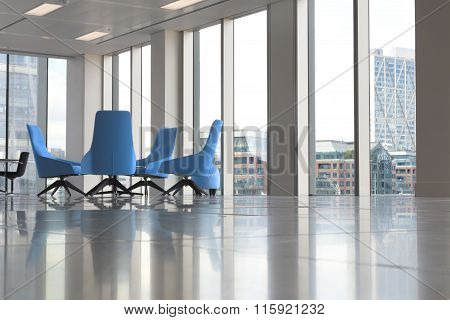 Modern office interior with glass windows in a skyscraper
