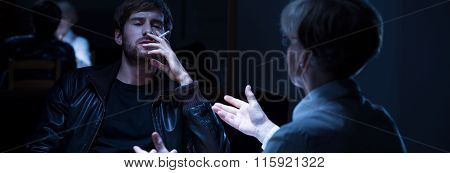 Smoking Criminal During Interrogation