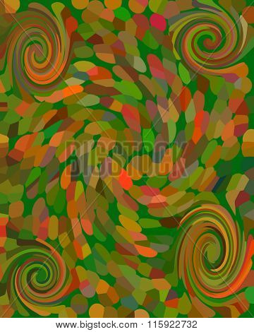 Abstract Mosaic Background With Four Spirals