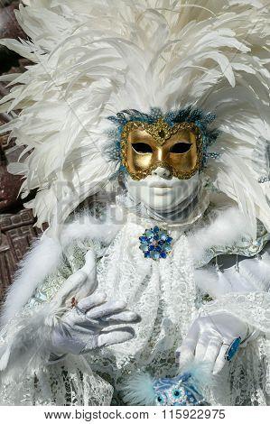 Beautiful Carnival Mask at Venice Carnival, Italy