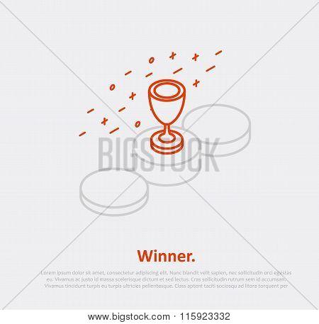 podium cup thin line isometric