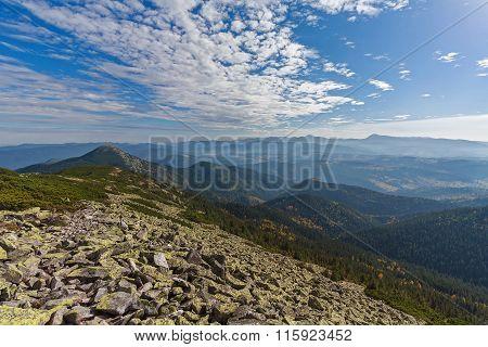 Green Gorgany And Majestic Mountain Peaks. Carpathians