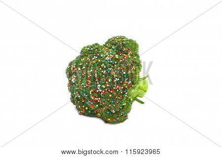 broccoli sprinkled with colorful sugar sprinkles